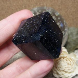 Blue Goldstone Cube (#2) Gemstone Crystal Decor
